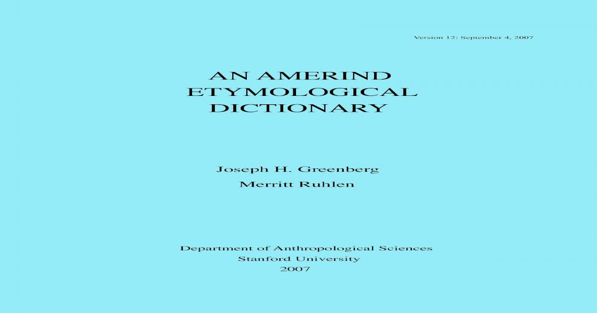Amerind Linguistic Family Aed5 Pdf Document