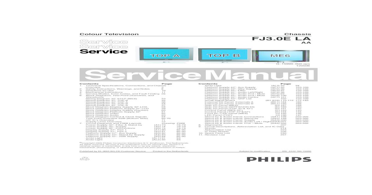 Philips Fj3 0e La Aa Chassis Lcd Tv Sm - [PDF Document]