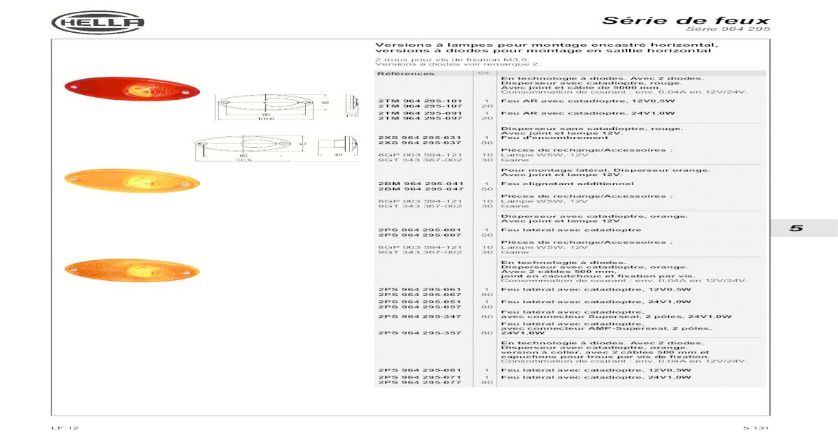 2PS 004 361-001 HELLA Feu de position latéral R5W