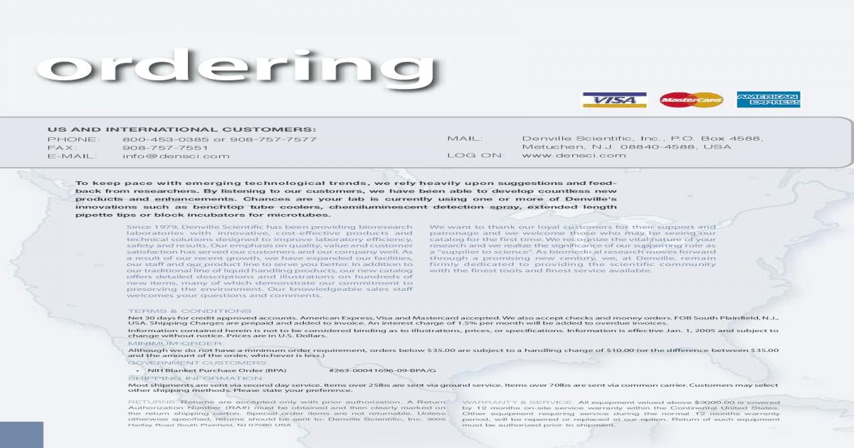 Denville Scientific Inc. Catalog - [PDF Doent] on
