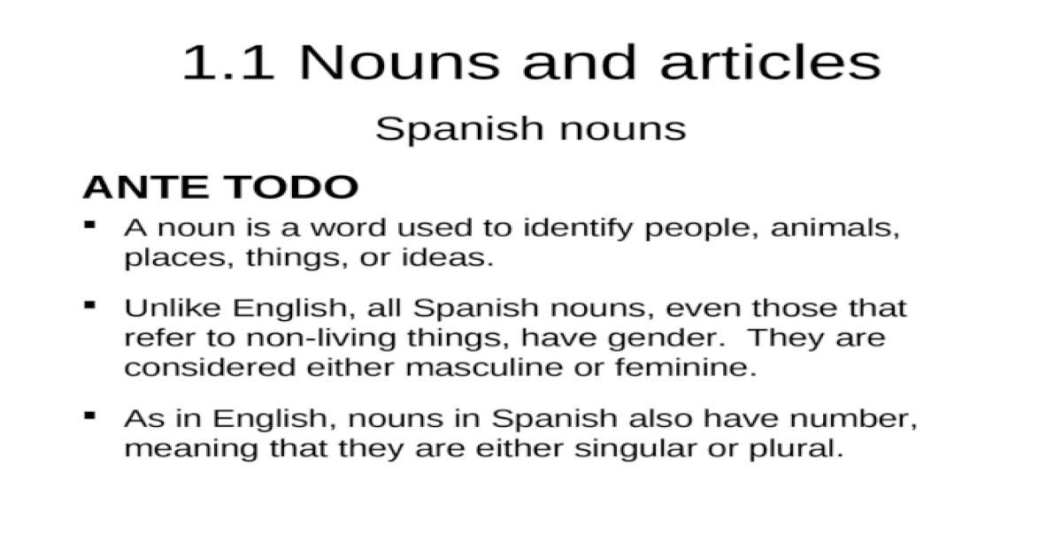 Unindad 1 1 | Spanish nouns and articles - [PPT Powerpoint]