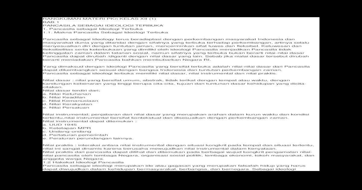 Rangkuman Materi Pkn Kelas Xii Semester 1 Kurikulum 2013 ...