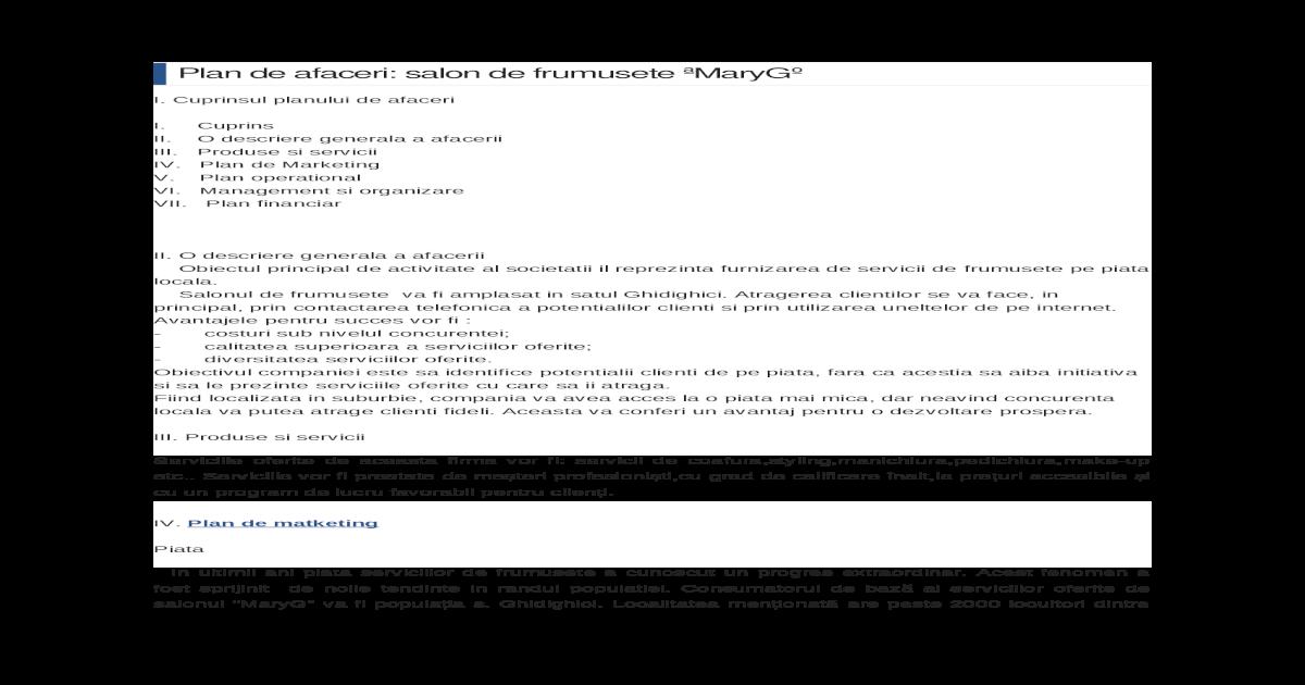 Plan De Afaceri Salon De Frumusete Docx Document