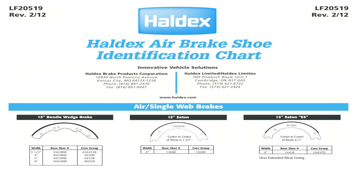 Haldex Air Brake Shoe Identification Chart - [PDF Document]