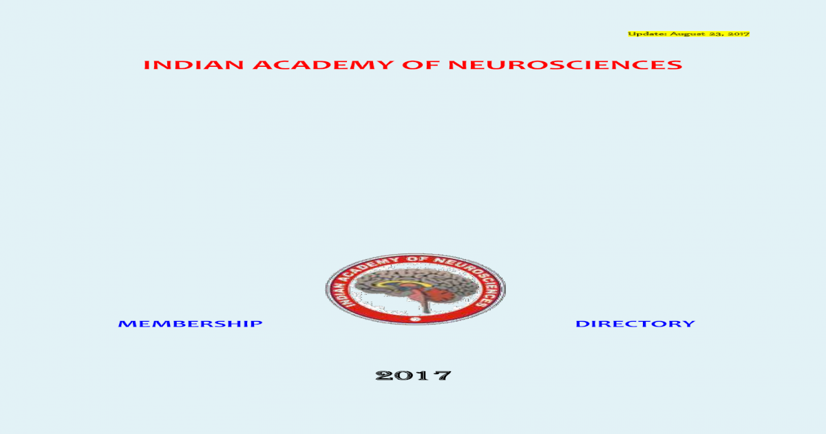 Indian Academy of Academy of Neurosciences     Department of