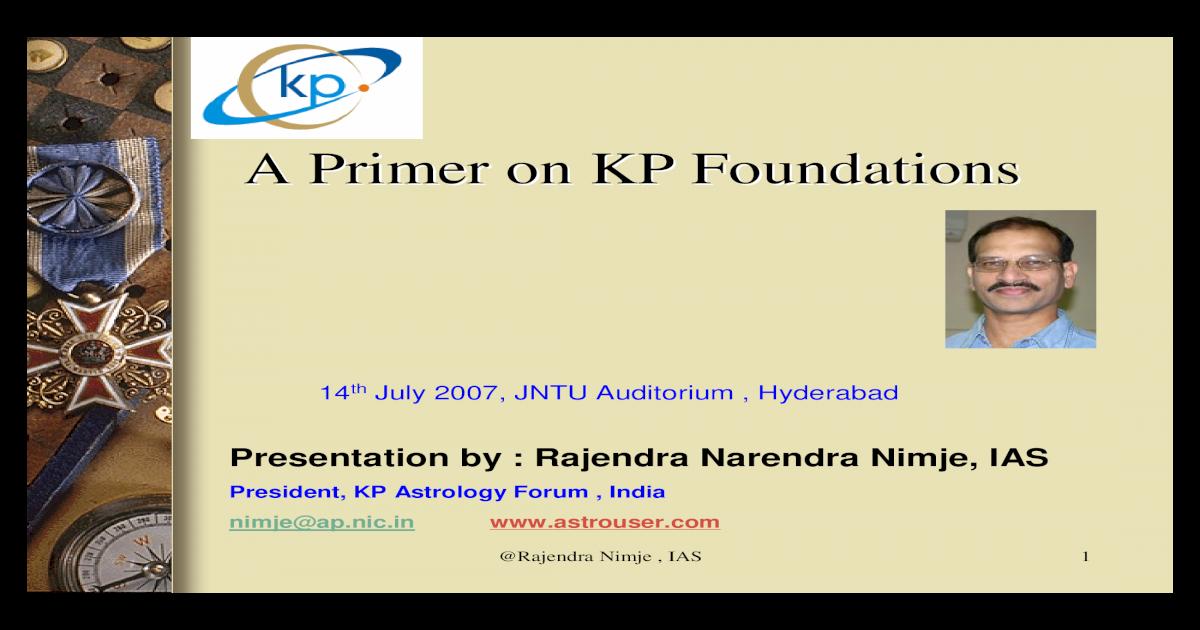 Primer on KP Astrology - [PDF Document]