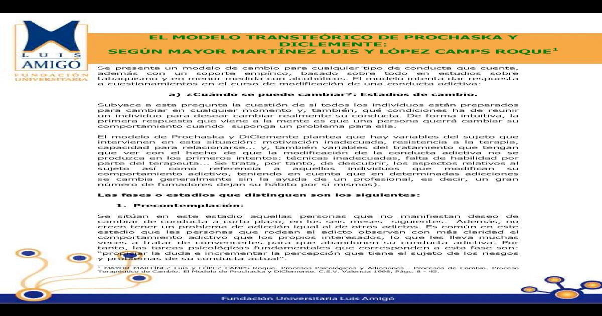 Modelo Transteorico Prochaska Y Diclemente Pdf Document