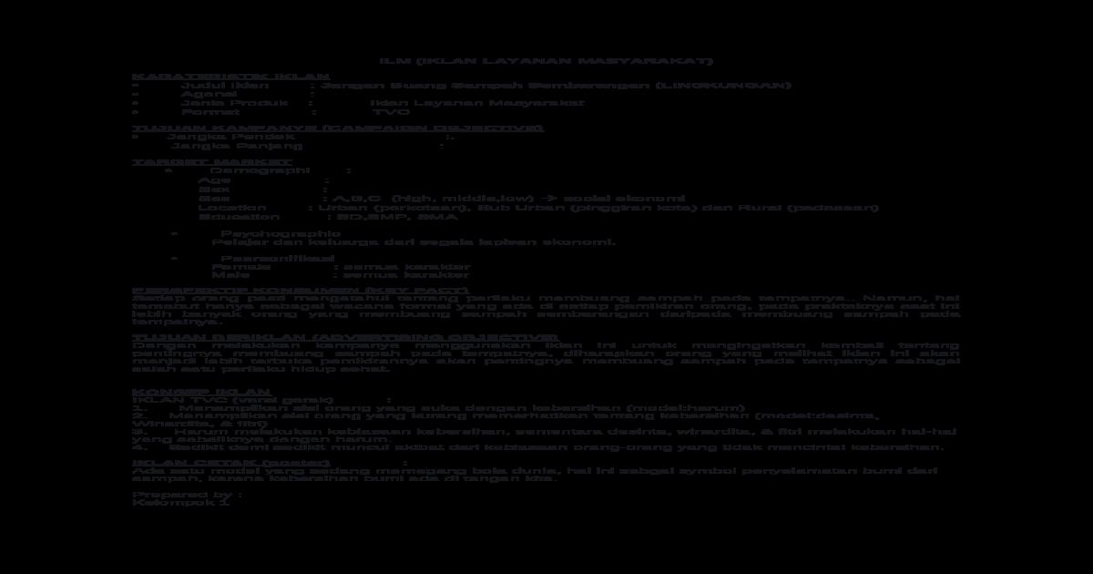 Skenario Iklan Layanan Masyarakat Docx Document