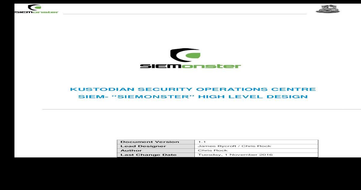 SIEMonster V2 5 High Level Design V1 2 - [PDF Document]