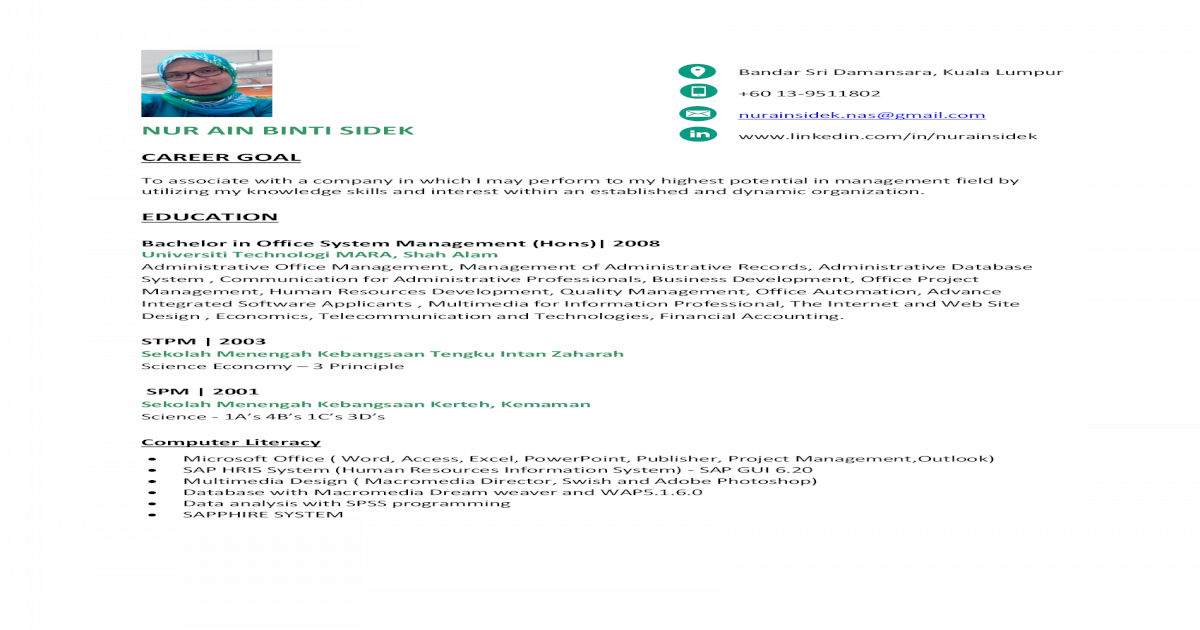 NUR AIN BINTI SIDEK _ CV 2016 - [PDF Document]
