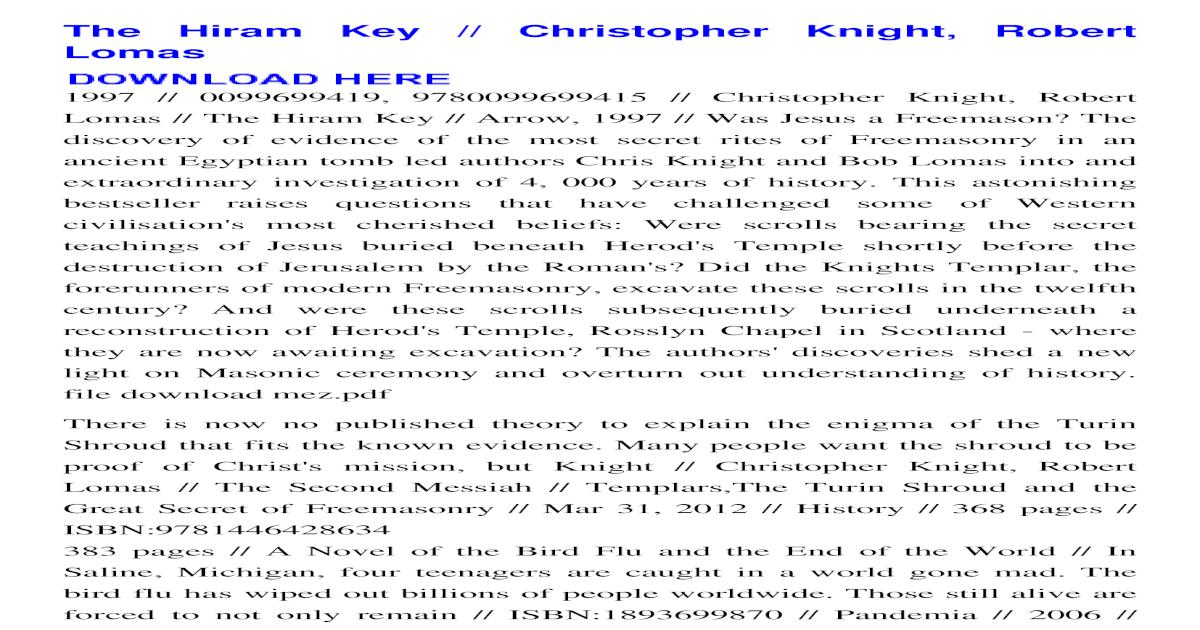 the hiram key christopher knight pdf