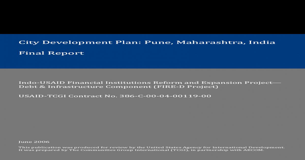 pdf usaid  Development Plan Pune Municipal Corporation vi