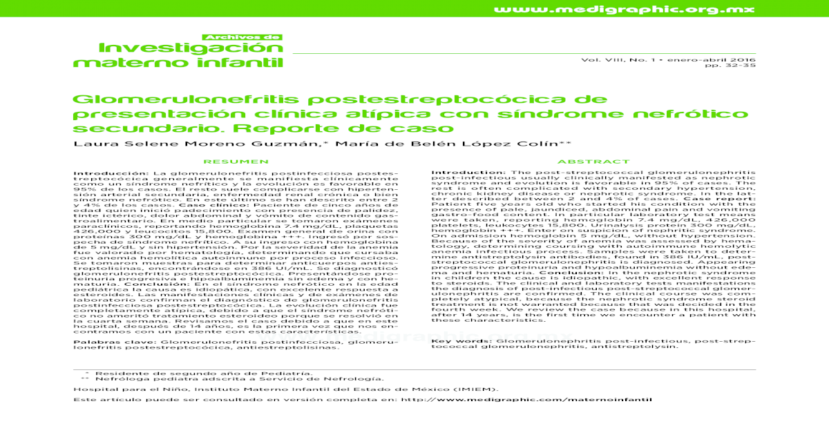 Glomerulonefritis En Nios Pdf