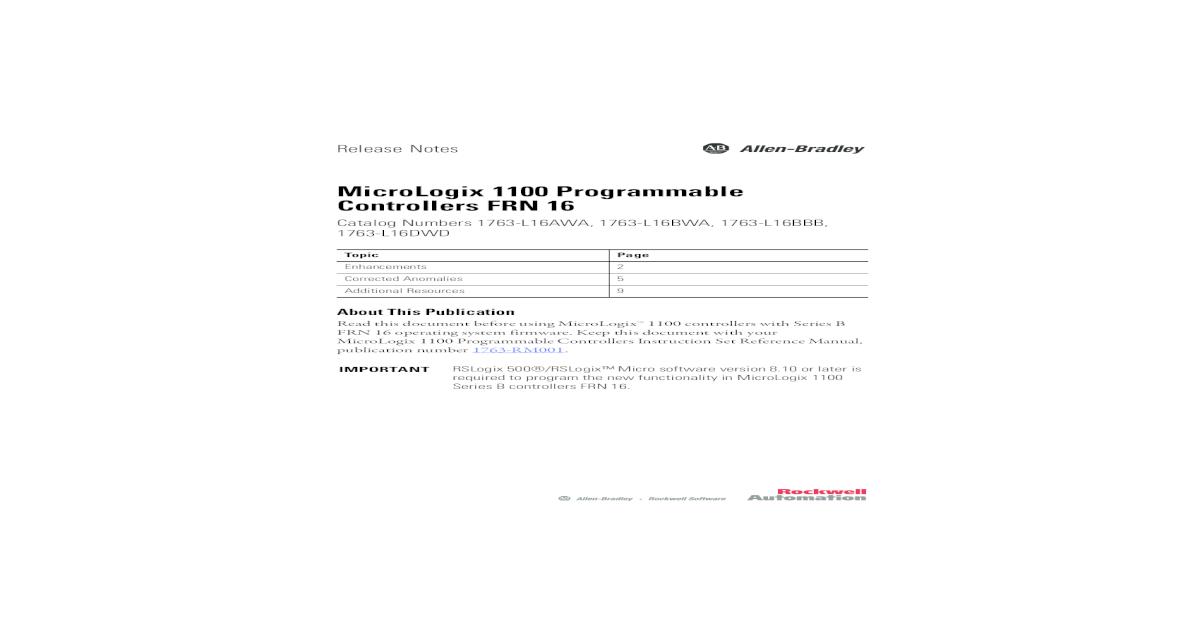 1763-RN003K-EN-P MicroLogix 1100 Programmable Controllers