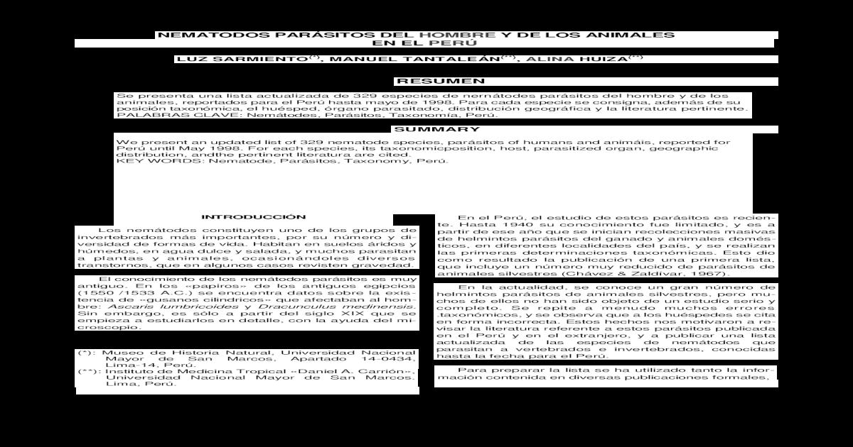 lista de phylum parásito