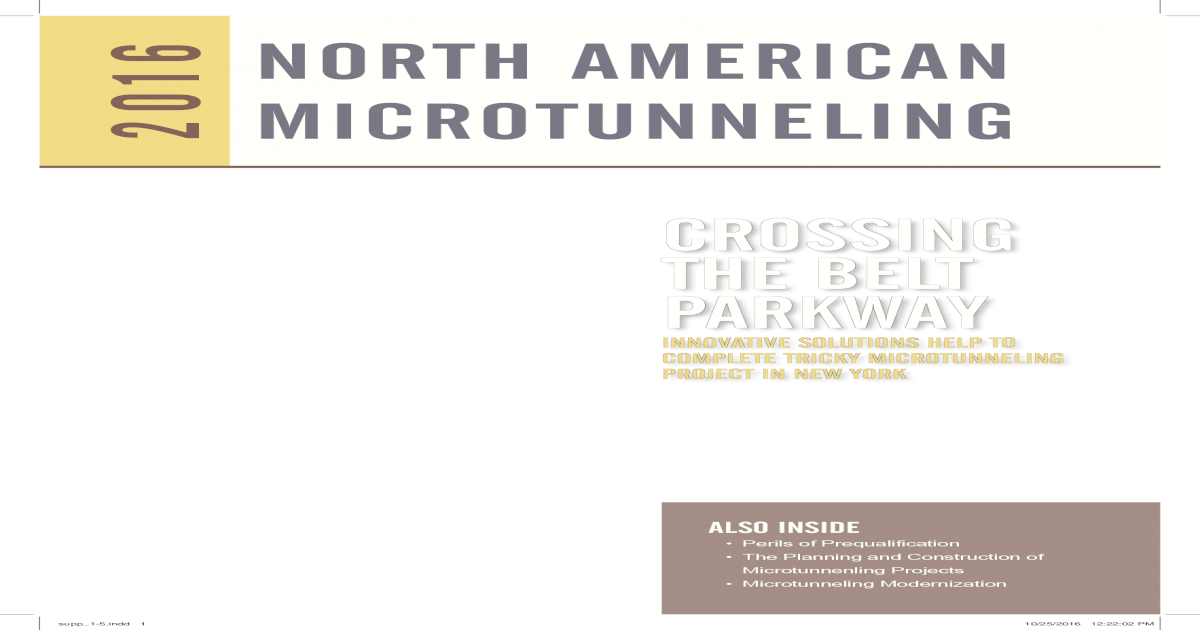 NORTH AMERICAN 2016 MICROTUNNELING ? NORTH AMERICAN 2016