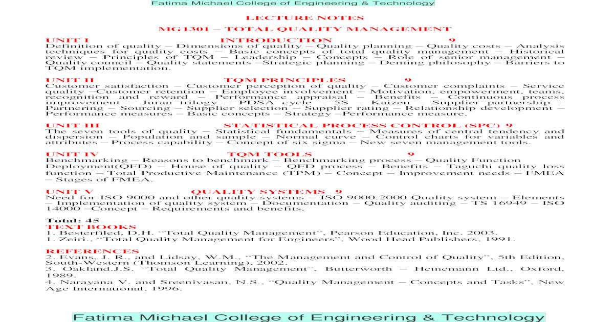 Lecture Notes Principles Management