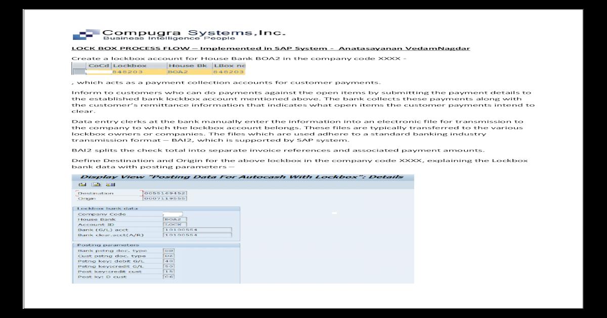 Sap lockbox implementation Compugra Systems Inc - [PDF Document]