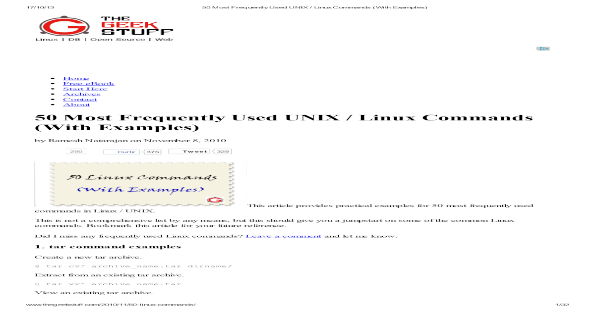 50 Most Frequently Used UNIX / Linux Commands (With ober