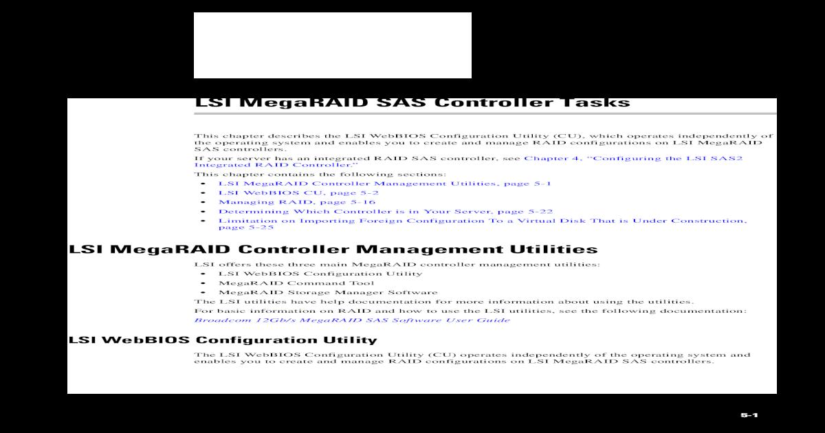 LSI MegaRAID SAS Controller Tasks - Global Home ??LSI