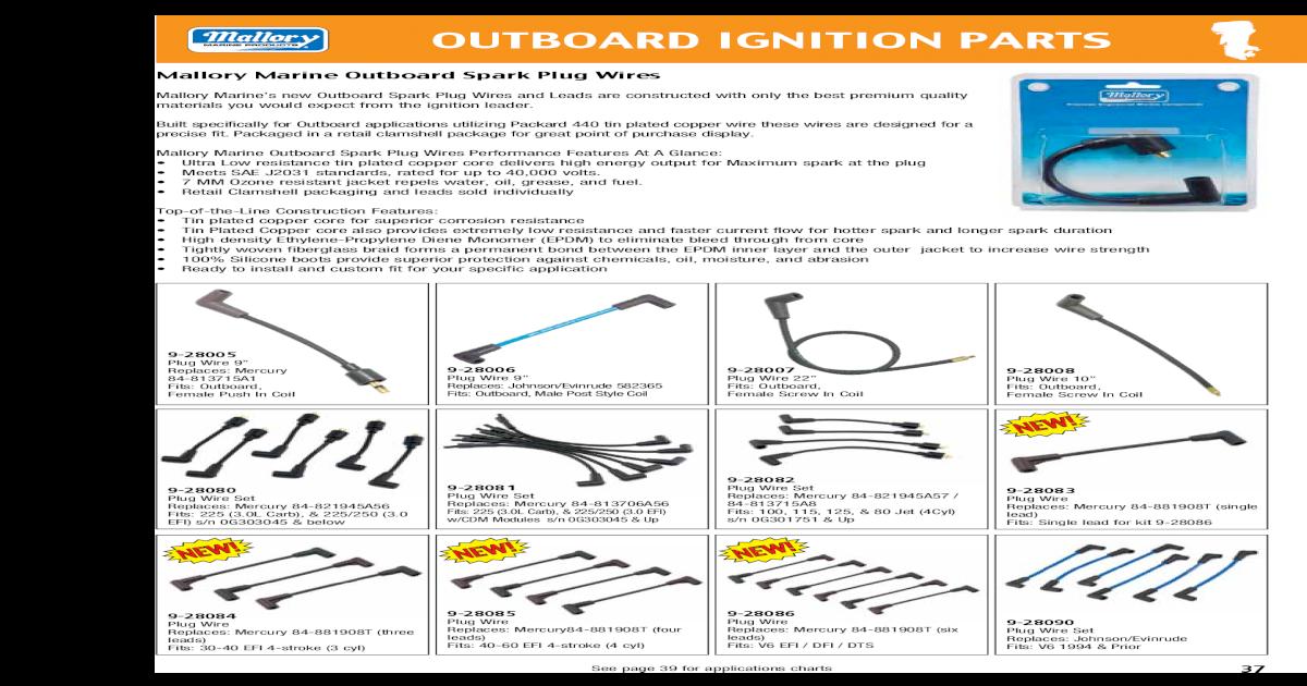 Mercury Spark Plug Wire Set 225//250 3.0L Carb /& EFI W//Cdm Modules 84-813706A56