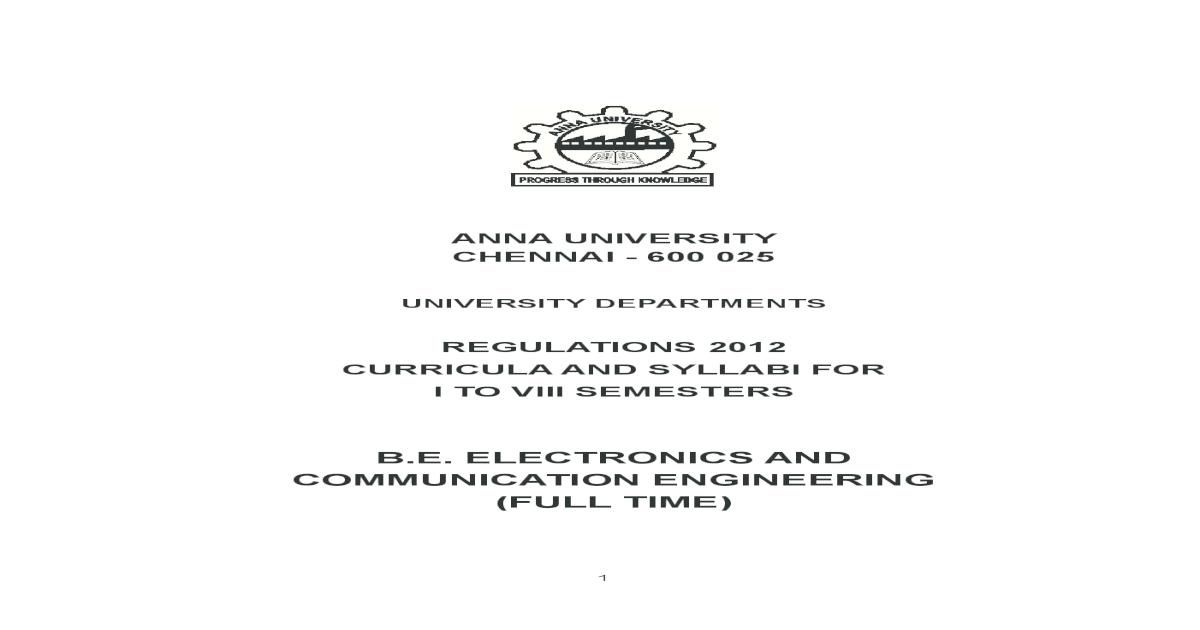B E  ELECTRONICS AND COMMUNICATION ENGINEERING (FULL anna university