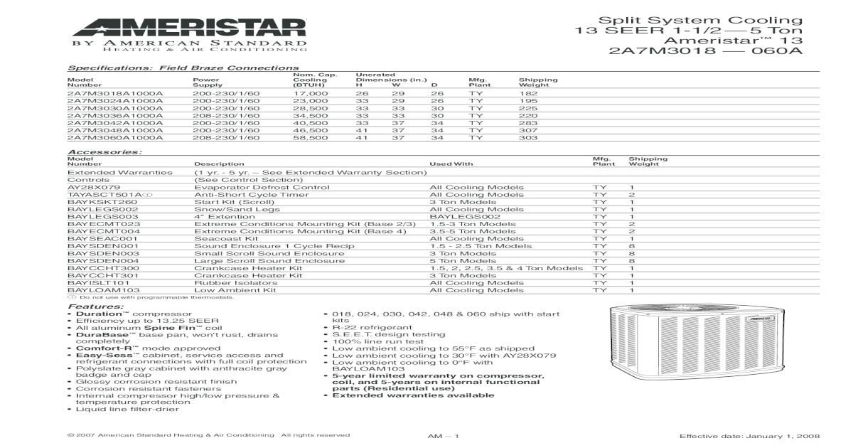 Split System Cooling 13 SEER 1-1/2 5 Ton Ameristar 13