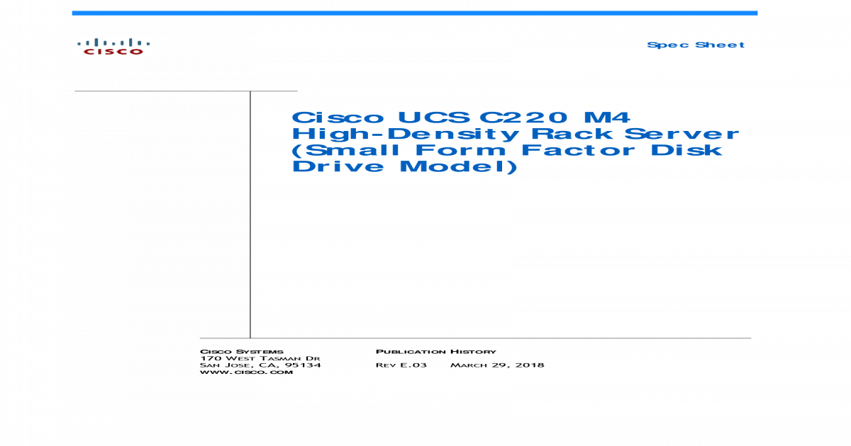 Cisco UCS C220 M4 SFF Rack Server Spec Sheet enterprise-class UCS