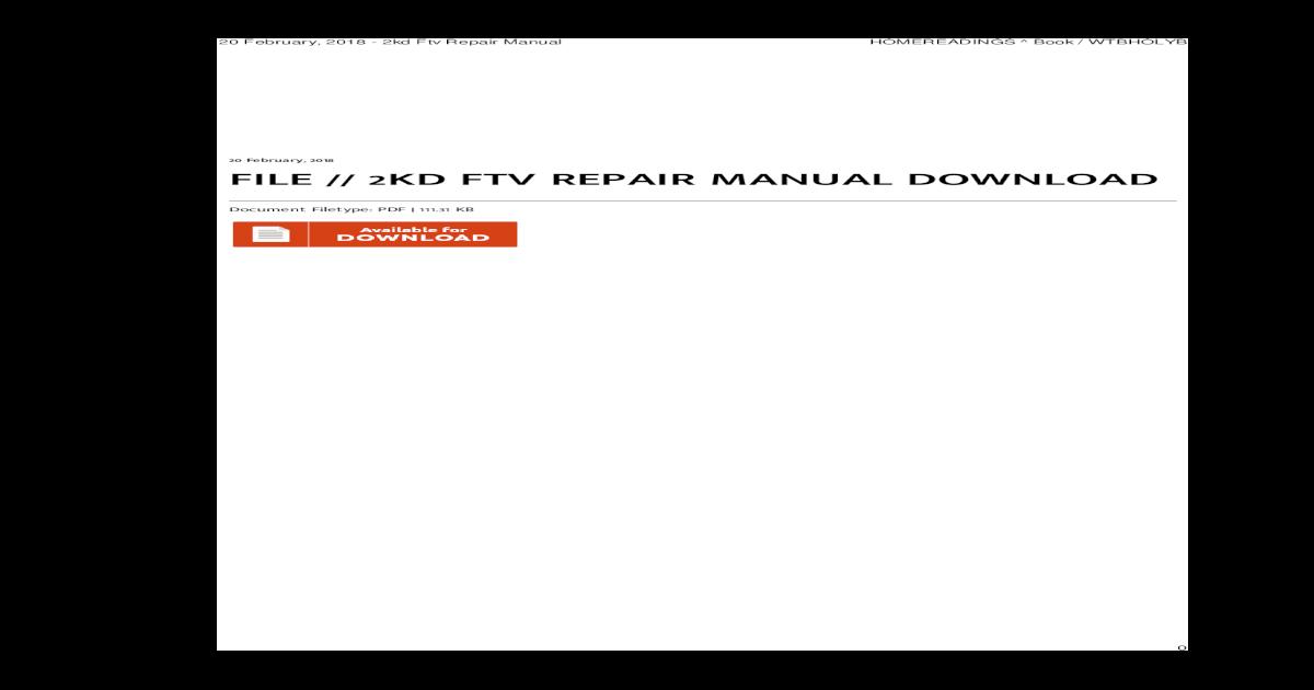 2kd Ftv Repair Manual Download Pdf