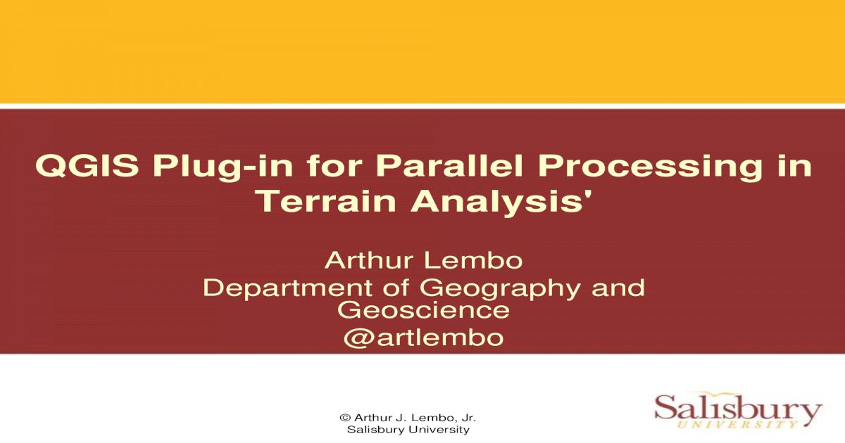 QGIS plugin for parallel processing in terrain analysis