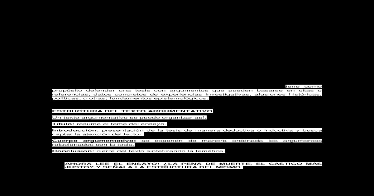 El Texto Argumentativo El Ensayo Pdf Document