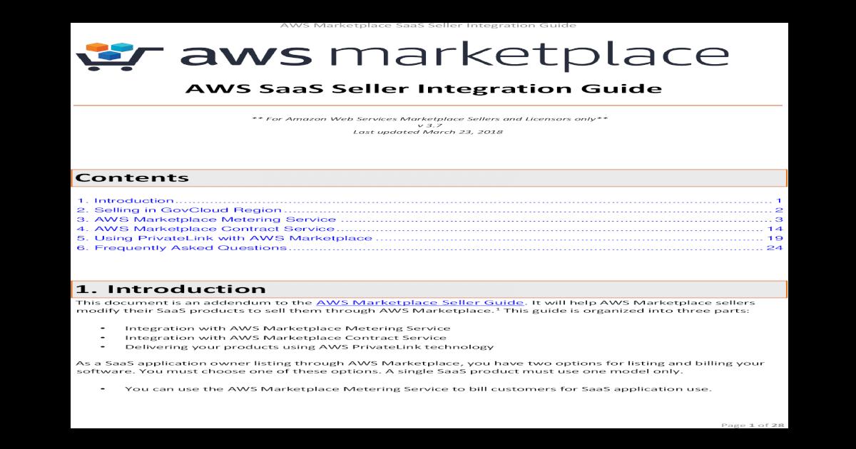 AWS Marketplace SaaS Seller Integration Guide Seller   AWS