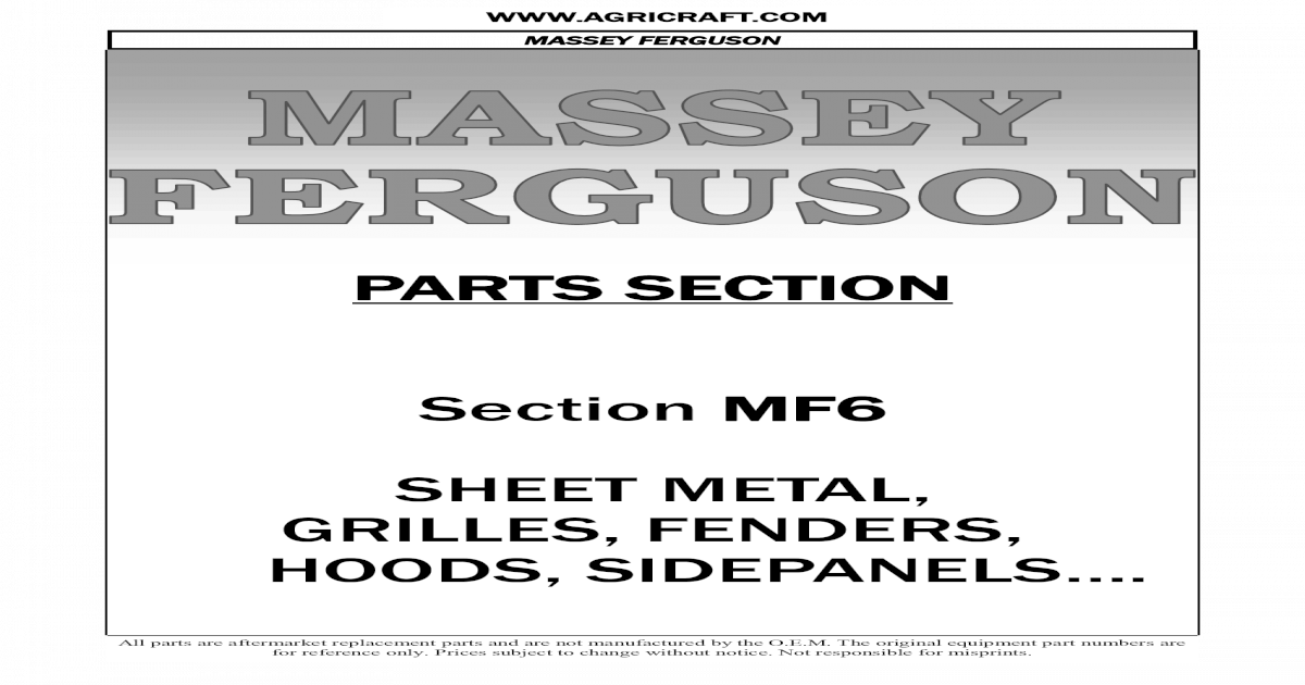 544416M91 Massey Ferguson Parts R//H Side Panel 245 20C