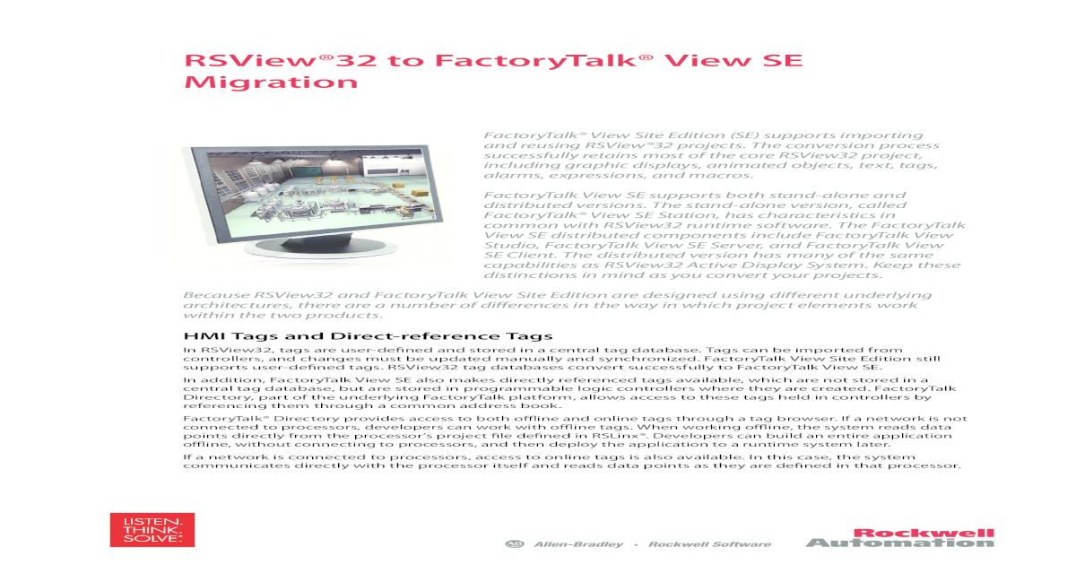 RSView32 to FactoryTalk View SE     - Literature working