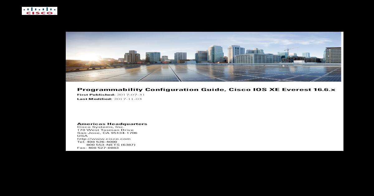 Programmability Configuration Guide, Cisco IOS XE config