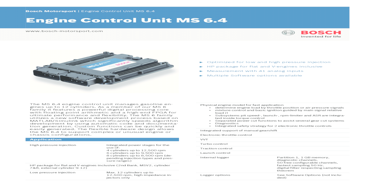 Engine Control Unit MS 6 4 - Bosch Motorsport ? Bosch