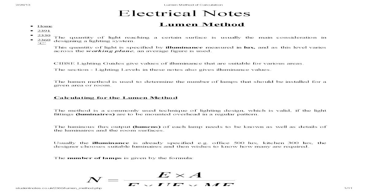 Lumen Method of Calculation pdf - [PDF Document]