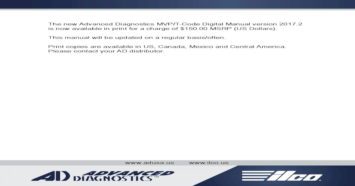 2016 Advanced Diagnostics USA MVP Pro & T-Code Pro Manual