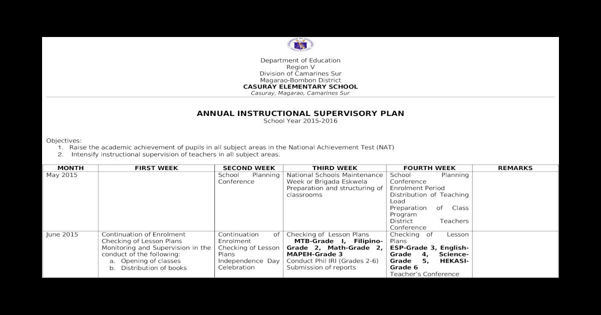Annual Instructional Supervisory Plan - [DOCX Document]