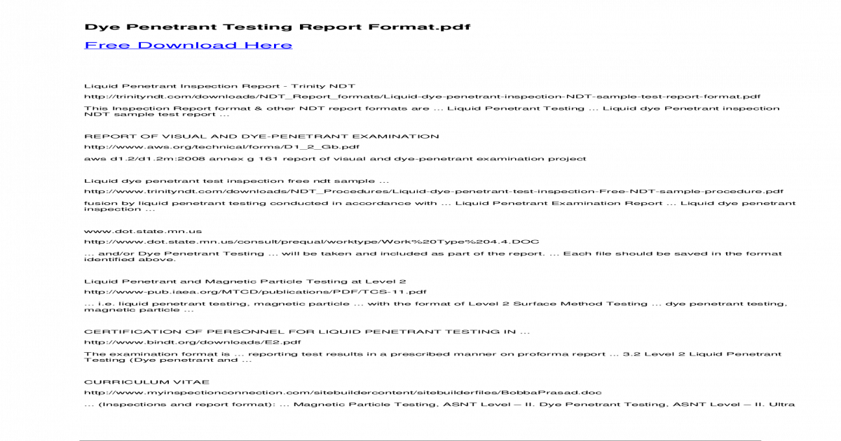 Dye Penetrant Testing Report Format - ? Dye Penetrant