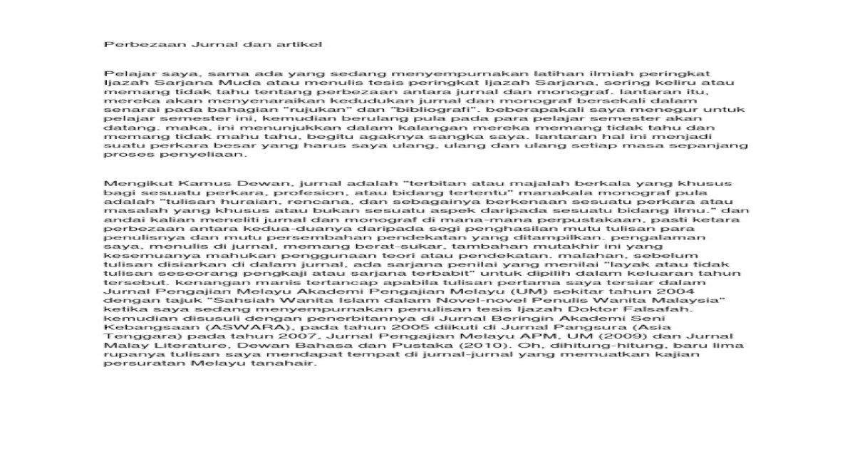 Perbezaan Jurnal Dan Artikel Pdf Document