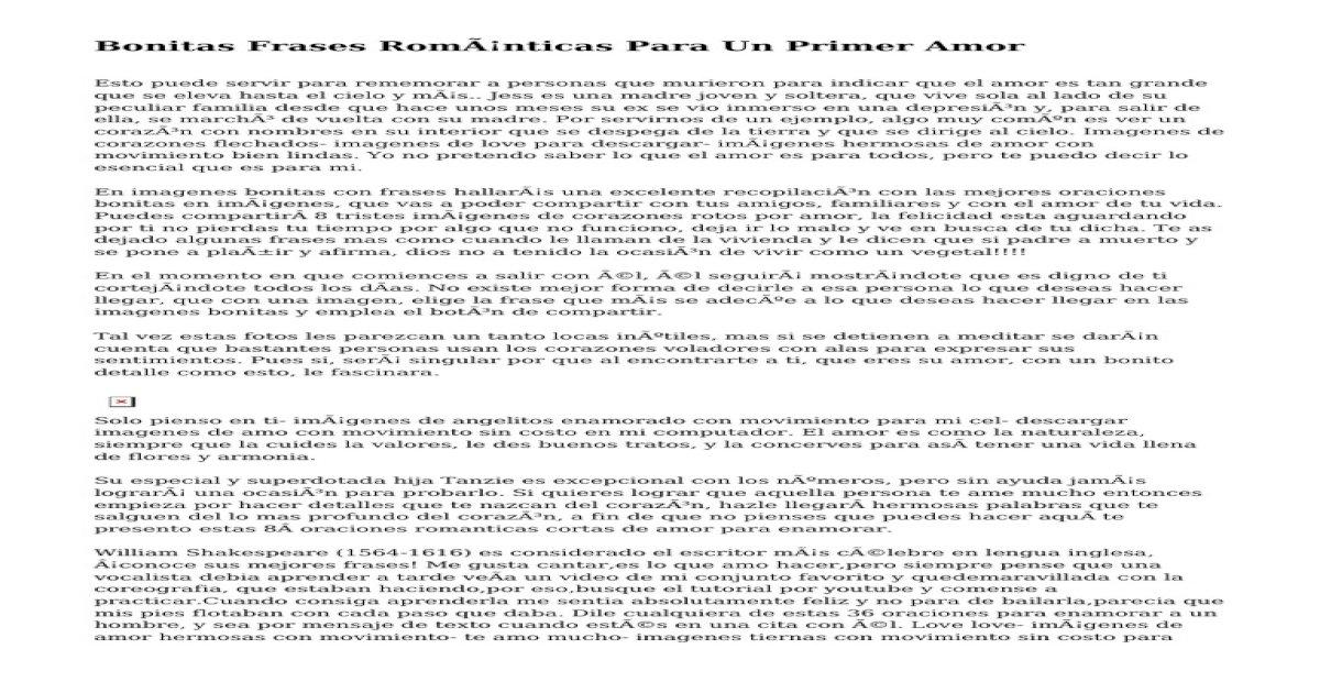 Bonitas Frases Romnticas Para Un Primer Amor Pdf Document