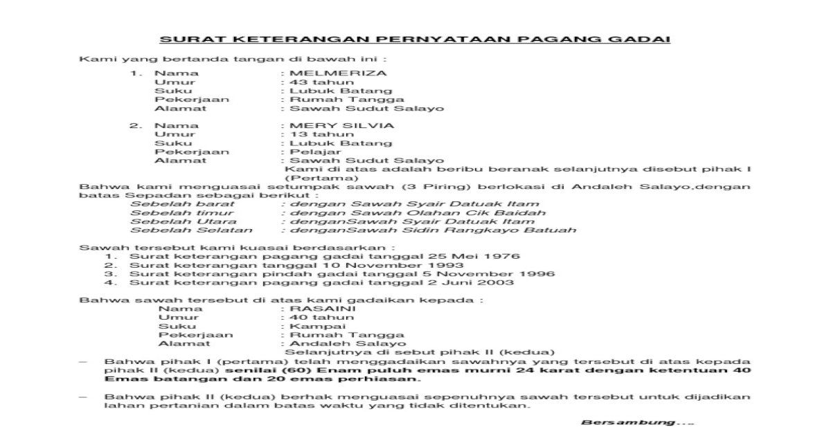 Surat Keterangan Pernyataan Pagang Gadai Pdf Document