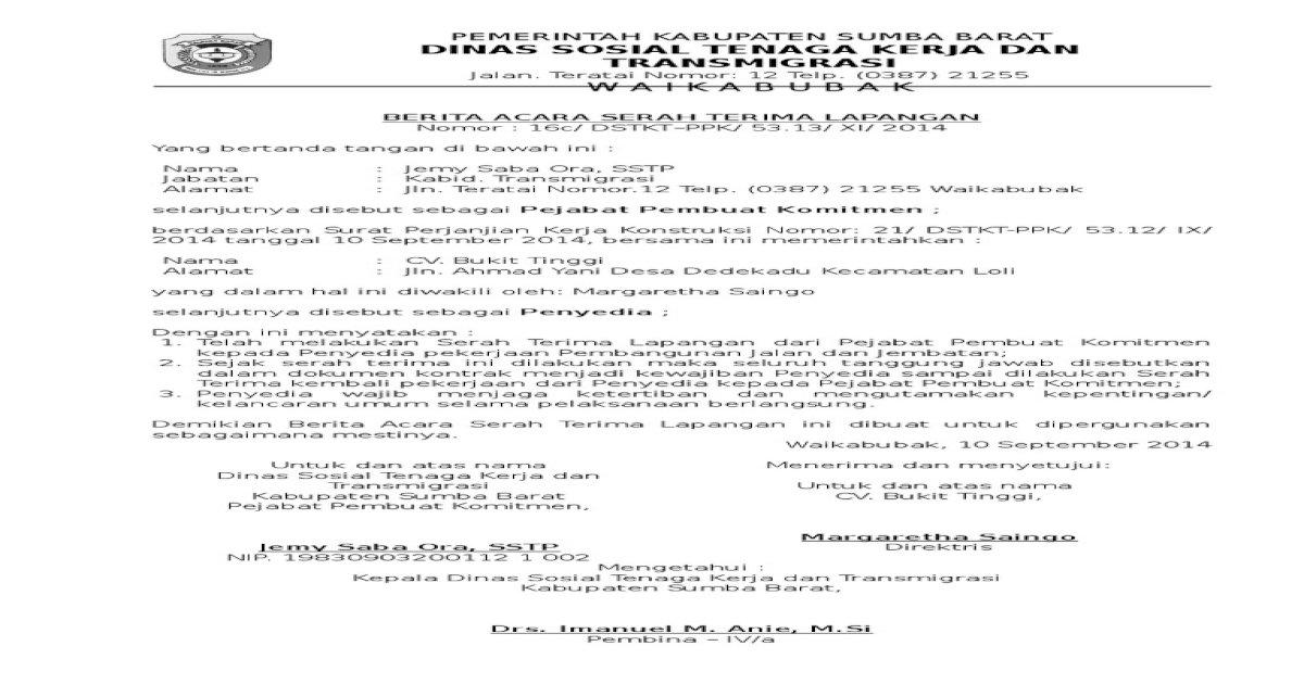 Berita Acara Serah Terima Lapangan Pdf Document