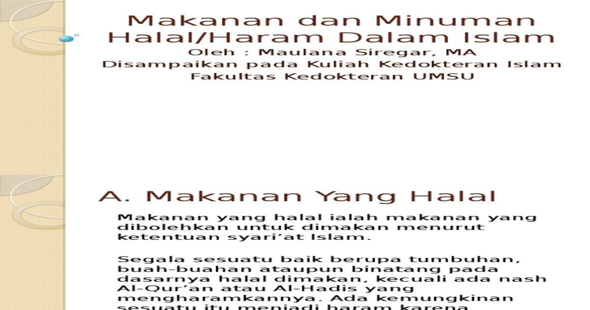 Makanan Dan Minuman Halal Dan Haram Dalam Islam Pdf Document