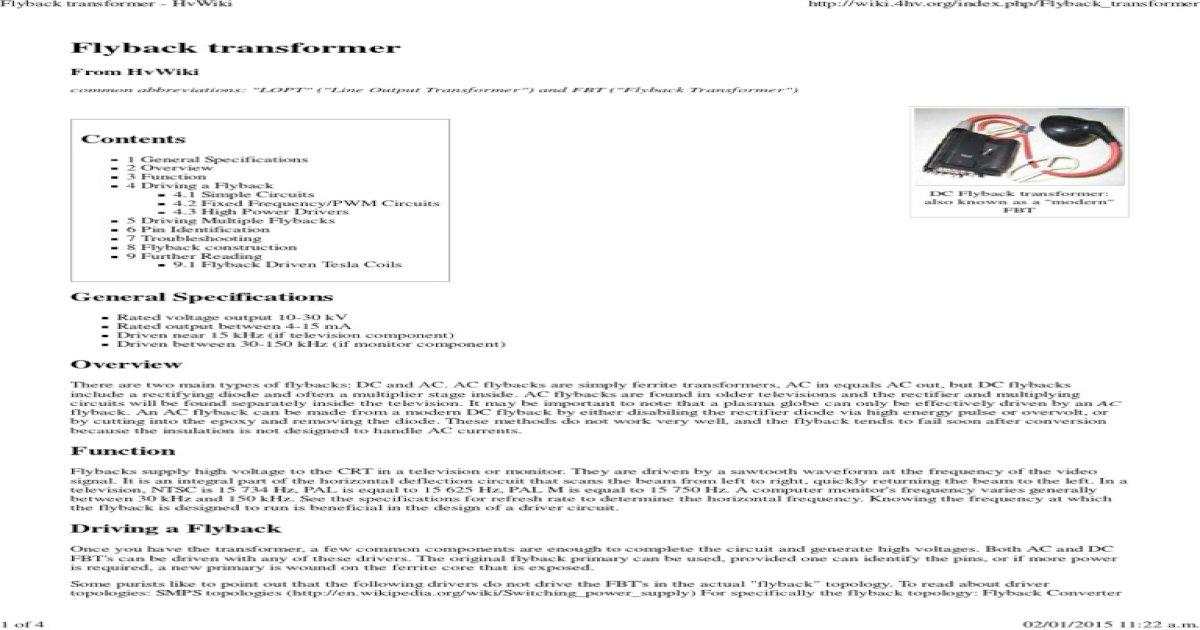 Flyback Transformer - HvWiki - [PDF Document]