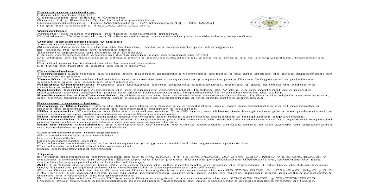 Fibra De Vidrio Sio2 Pdf Document