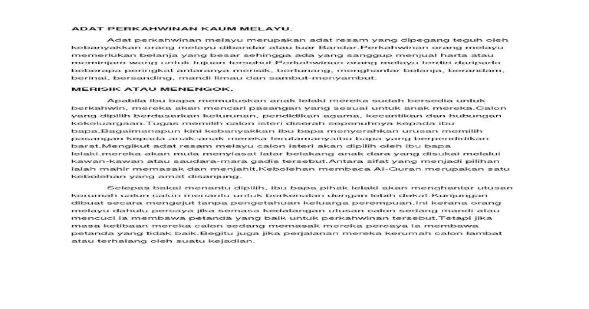 Adat Perkahwinan Kaum Melayu Dan Cina Pdf Document