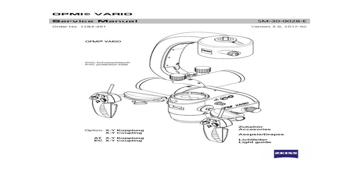 Carl Zeiss Neuro Microscope OPMI VARI Service Manual