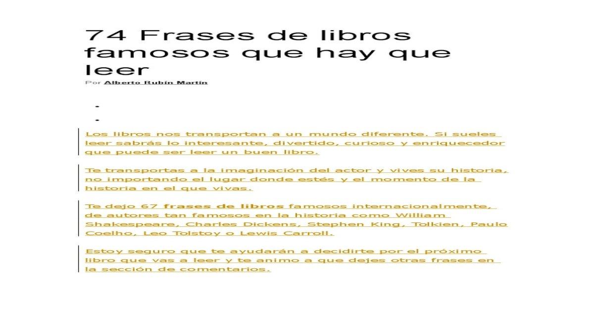 74 Frases De Libros Famosos Que Hay Que Leer Pdf Document